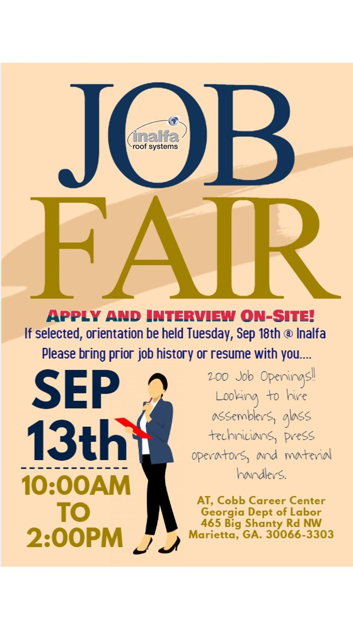 Upcoming Job Fair With Inalfa Roof Systems And The Georgia